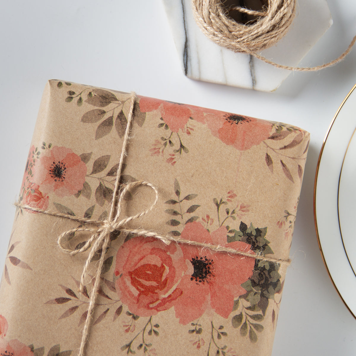 Wrapaholic-Floral-Patten-Kraft-Wrapping-paper-Roll-5