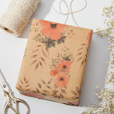Wrapaholic-Floral-Patten-Kraft-Wrapping-paper-Roll-6