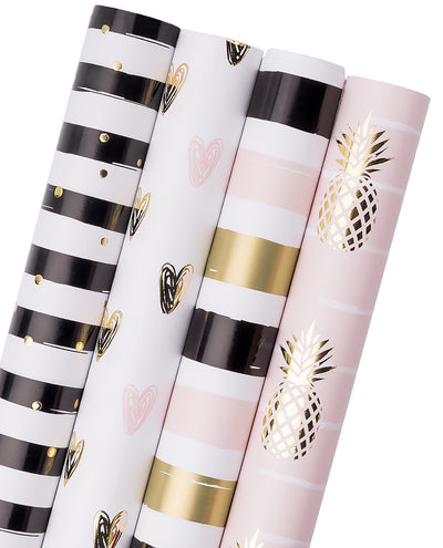 Wrapaholic-Gift-Wrapping-Pineapple-Heart-Stripes-Design-Paper-Roll-1