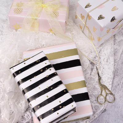 Wrapaholic-Gift-Wrapping-Pineapple-Heart-Stripes-Design-Paper-Roll-4