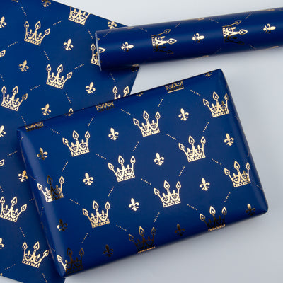 Wrapaholic Gold Foil Crown Design Gift Wrapping Paper Roll
