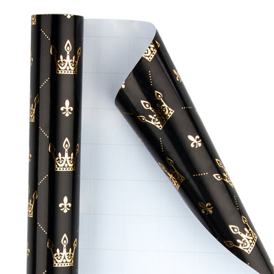 Wrapaholic-Gold-Foil-Crown-Design- with-Cut-Lines- Gift-Wrapping-Paper-Roll-2