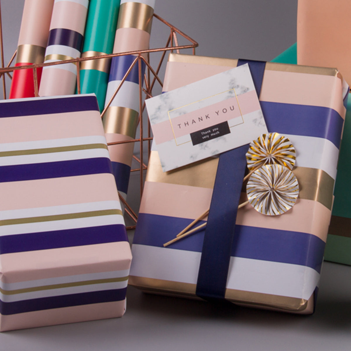 Wrapaholic-Gold-Stripes-Set-Wrapping-Paper-Roll-2