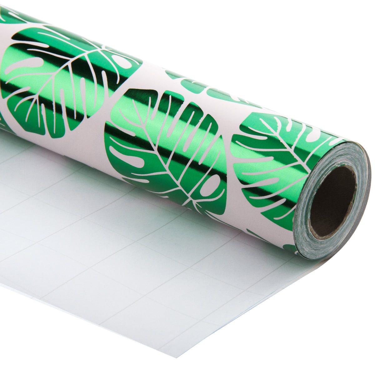 Wrapaholic-Green-Foil-Tropical-Palm-Leaves-Gift -Wrapping-Paper-Roll-1