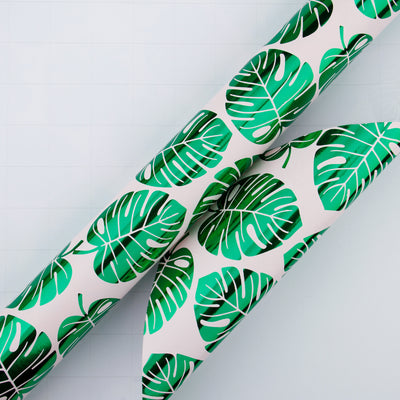 Wrapaholic-Green-Foil-Tropical-Palm-Leaves-Gift -Wrapping-Paper-Roll-4