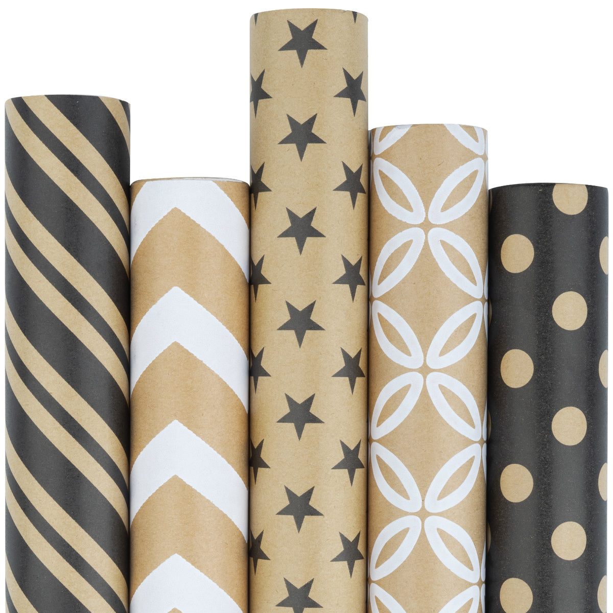 Wrapaholic-Kraft- Gift- Wrapping -Paper-Roll -Black -and-White- Geometry-1