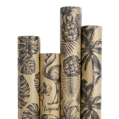 Wrapaholic-Kraft- Wrapping-Paper-Black-Tropical-Element-1