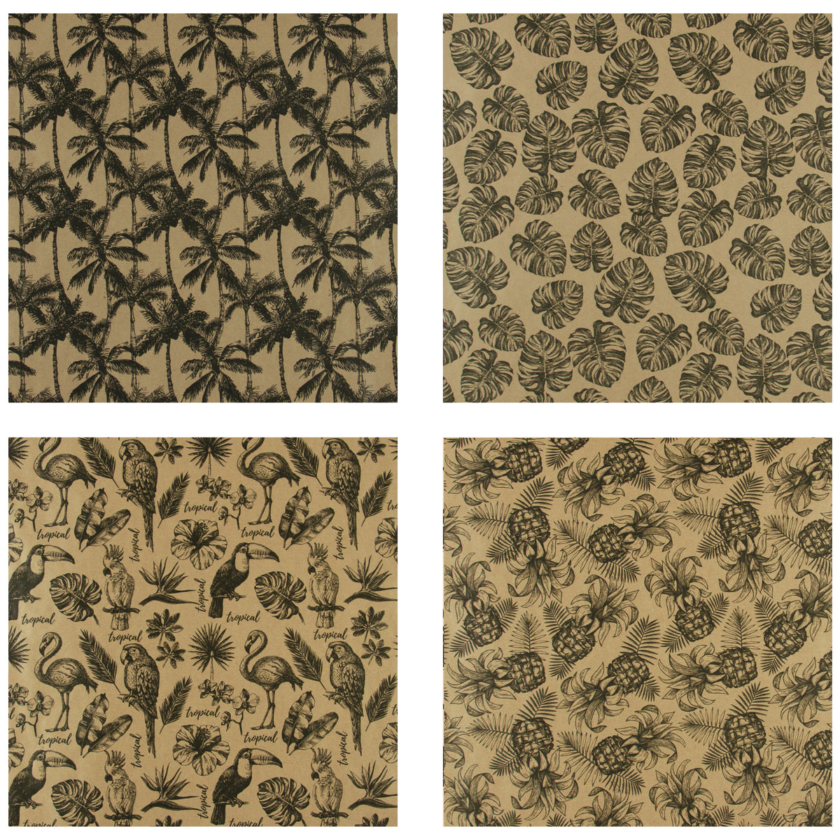 Wrapaholic-Kraft- Wrapping-Paper-Black-Tropical-Element-2