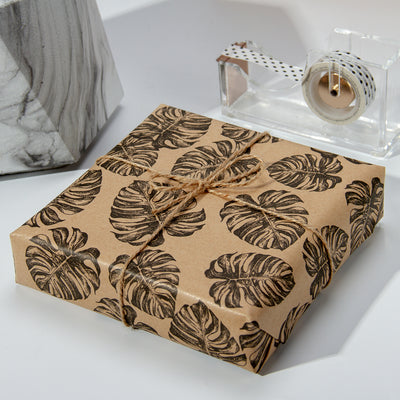 Wrapaholic-Kraft- Wrapping-Paper-Black-Tropical-Element-3