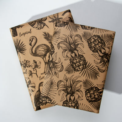 Wrapaholic-Kraft- Wrapping-Paper-Black-Tropical-Element-4