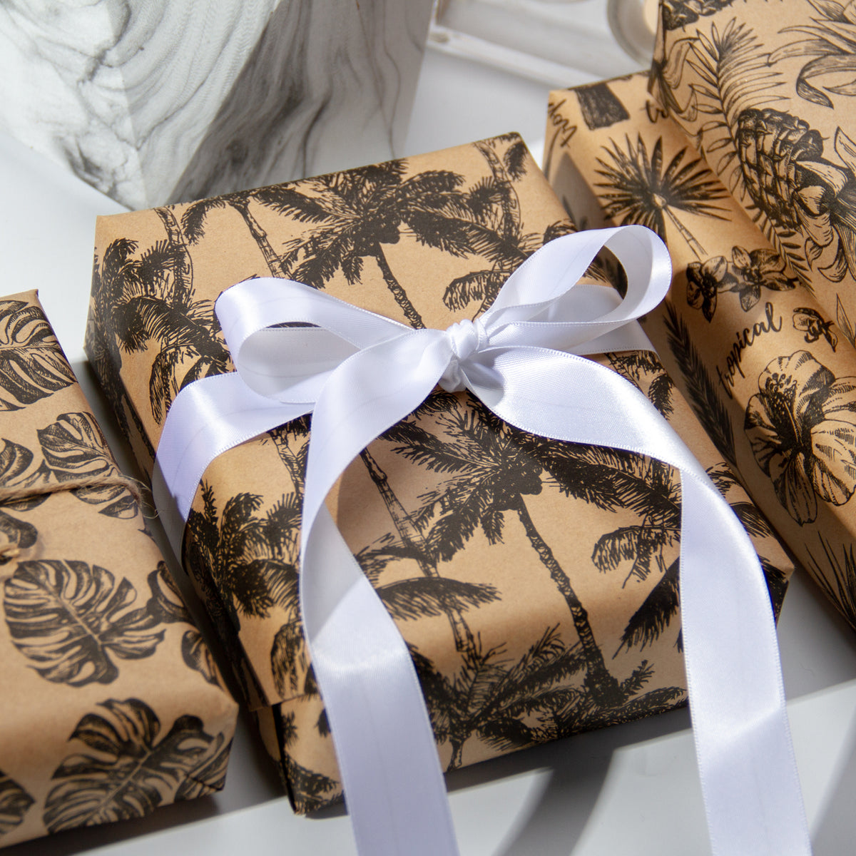Wrapaholic-Kraft- Wrapping-Paper-Black-Tropical-Element-5