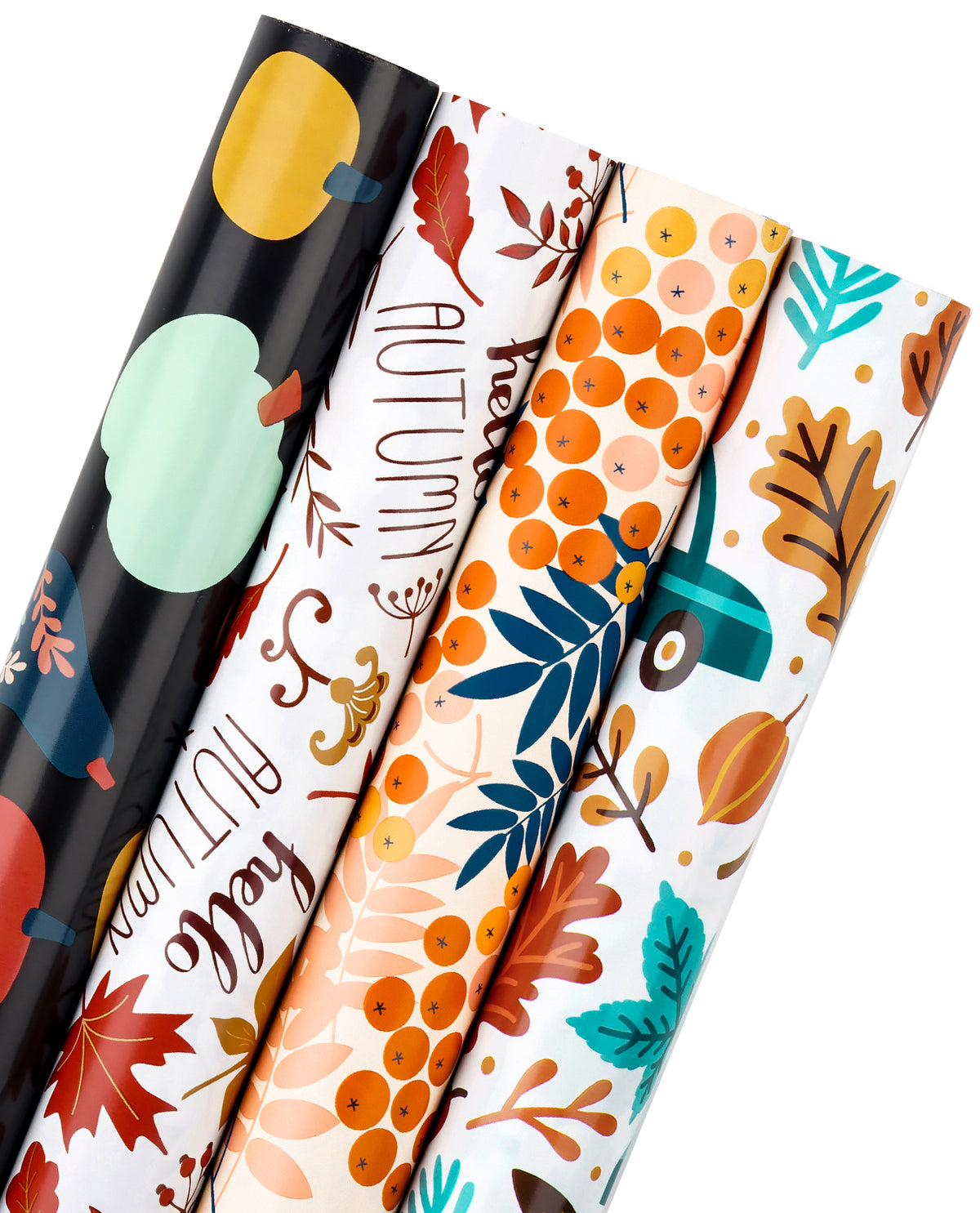 Wrapaholic- Maple-Leaf-and-Pumpkin Autumn-Design-Gift-Wrapping-Paper-Roll-4 Rolls-1