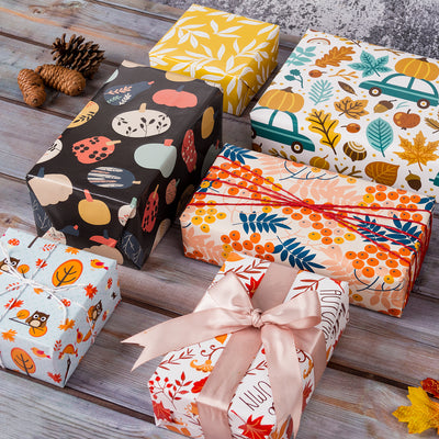 Wrapaholic- Maple-Leaf-and-Pumpkin Autumn-Design-Gift-Wrapping-Paper-Roll-4 Rolls-4