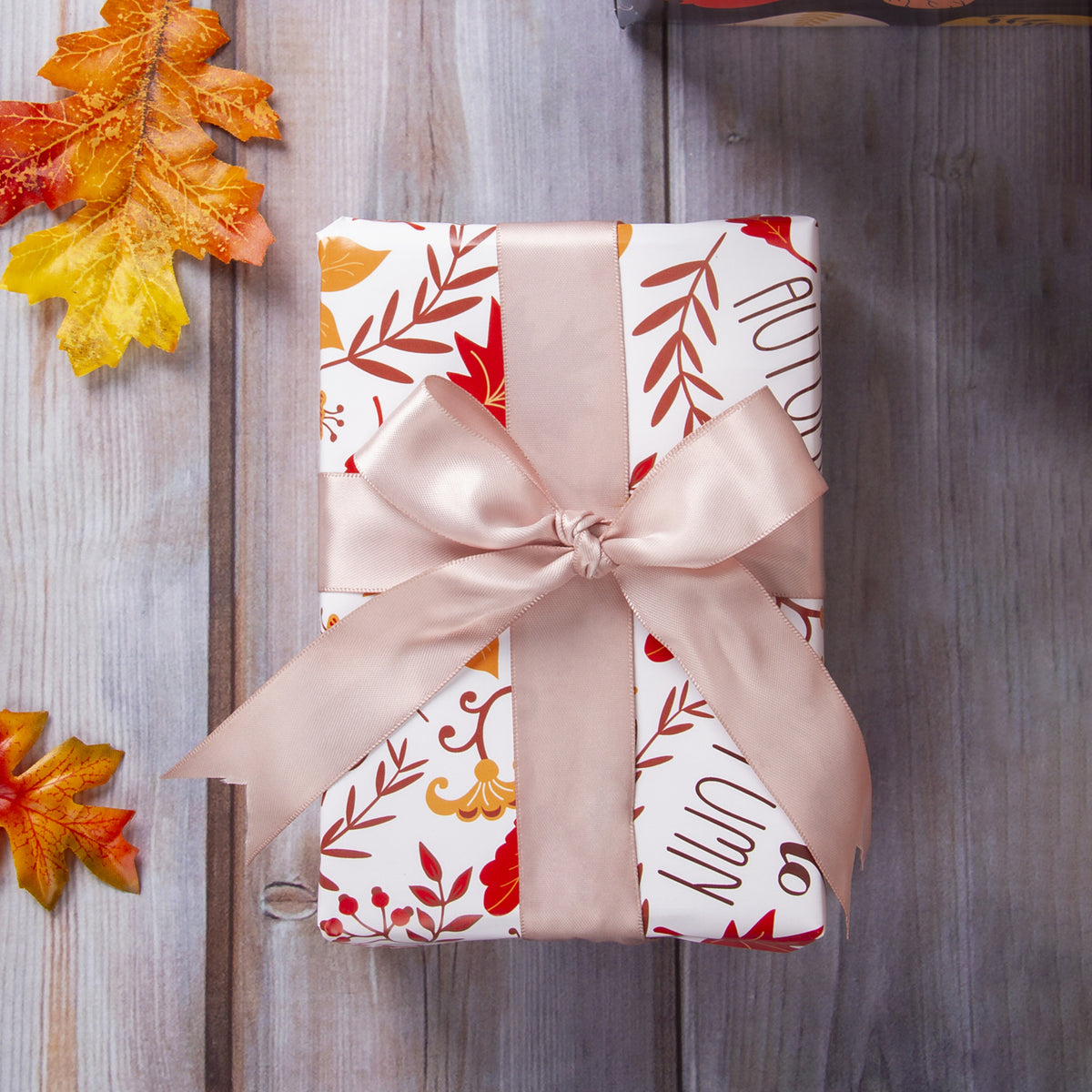 Wrapaholic- Maple-Leaf-and-Pumpkin Autumn-Design-Gift-Wrapping-Paper-Roll-4 Rolls-5