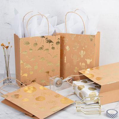 Wrapaholic Medium Size Kraft Gift Bags- Foil Gold Monstera/Cactus/Rose/Flamingo Design Gift Bags with Tissue Paper-4 Pack - 8 X 4 X 10 Inch