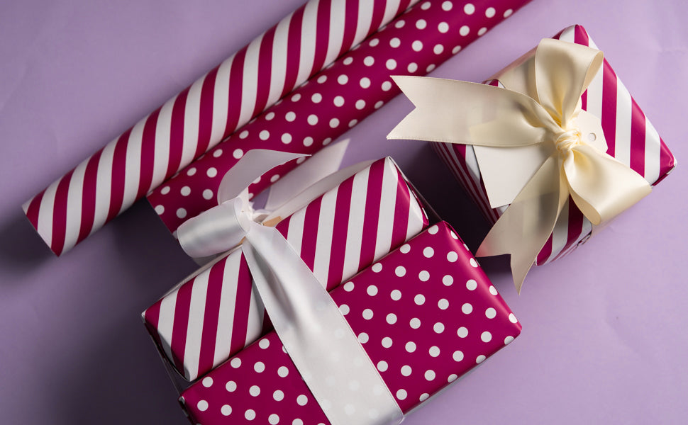 Wrapaholic- Medium-Violet -Red-and- Polka-Dot- Design-Reversible-Gift- Wrapping-Paper-4