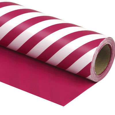 Wrapaholic-Medium-Violet Red-and-Stripes -Design-Reversible-Gift- Wrapping-Paper-1