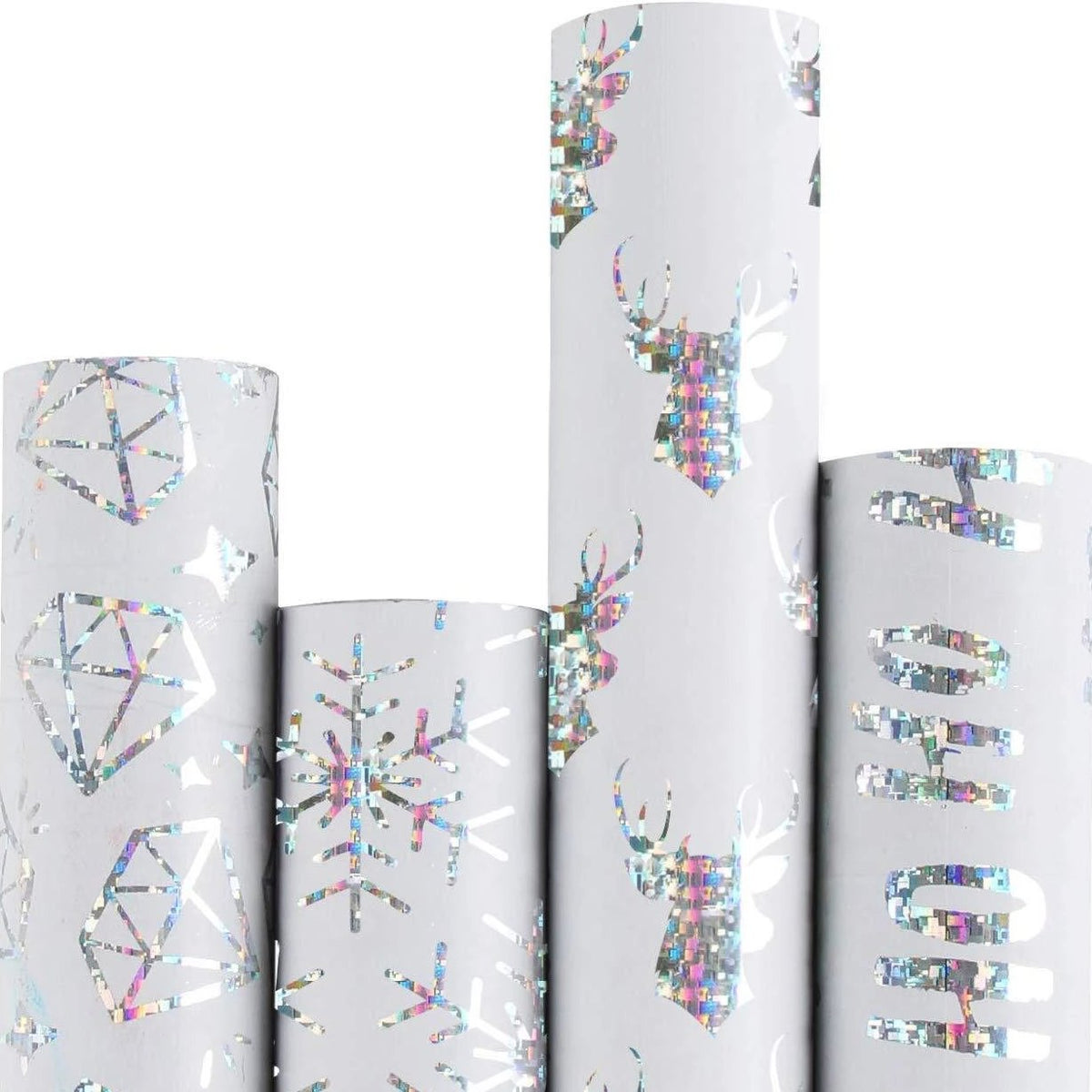 Wrapaholic-Merry-Christmas-Gift-Wrapping-Paper-Roll-Diamond-white-silver
