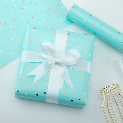 Wrapaholic-Mint-Color-with -Gold-Foil-Dots -Design-Gift-Wrapping- Paper-Roll-4
