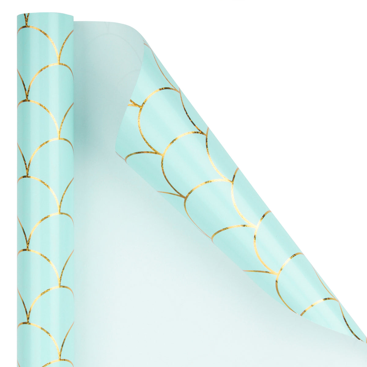 Wrapaholic-Mint-Color -with-Gold-Foil- Mermaid-Design-Gift- Wrapping -Paper-Roll-2
