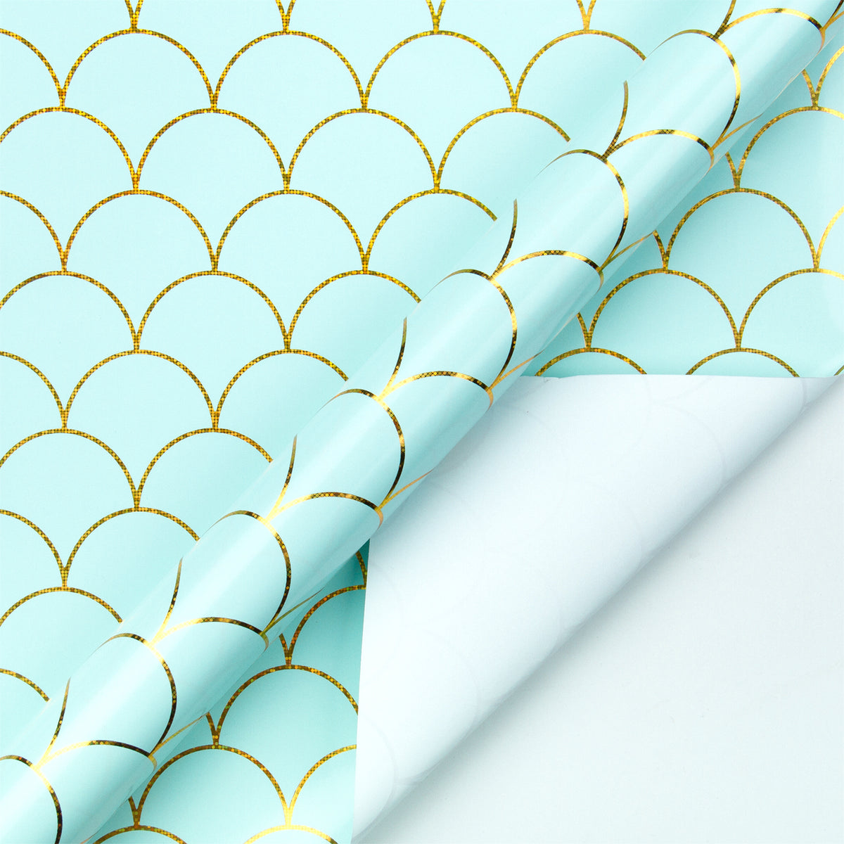Wrapaholic-Mint-Color -with-Gold-Foil- Mermaid-Design-Gift- Wrapping -Paper-Roll-3