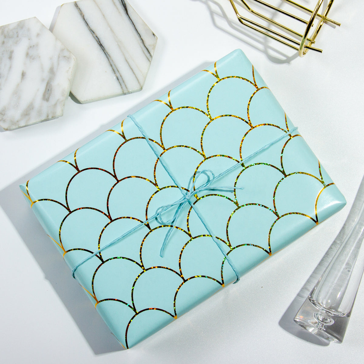 Wrapaholic-Mint-Color -with-Gold-Foil- Mermaid-Design-Gift- Wrapping -Paper-Roll-5