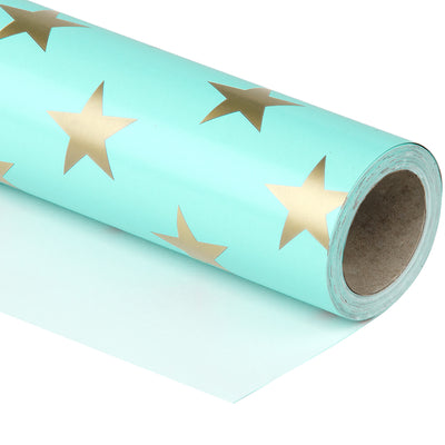 Wrapaholic-Mint-Color- with-Gold-Print Star-Design-Gift -Wrapping-Paper-Roll-1