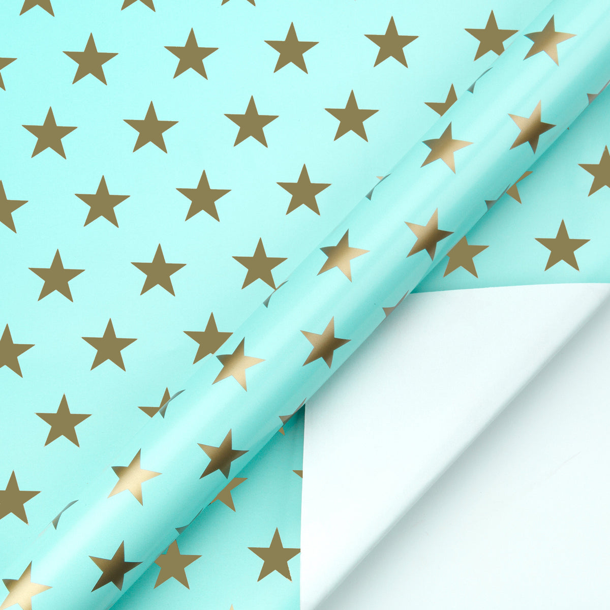 Wrapaholic-Mint-Color- with-Gold-Print Star-Design-Gift -Wrapping-Paper-Roll-2
