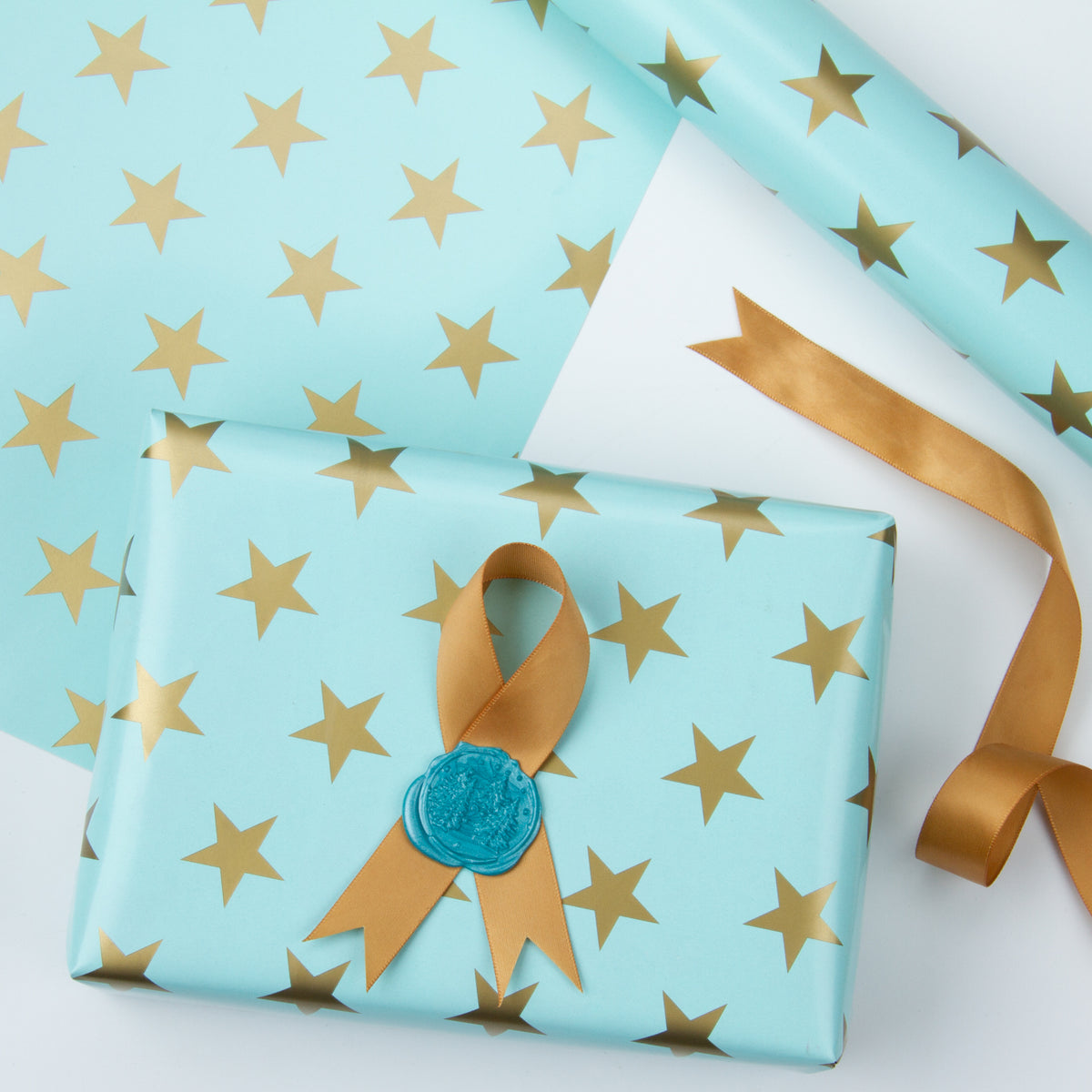 Wrapaholic-Mint-Color- with-Gold-Print Star-Design-Gift -Wrapping-Paper-Roll-3