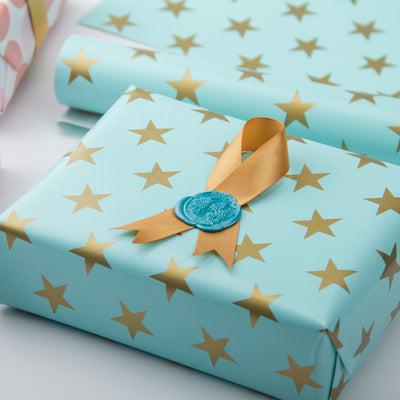 Wrapaholic-Mint-Color- with-Gold-Print Star-Design-Gift -Wrapping-Paper-Roll-4