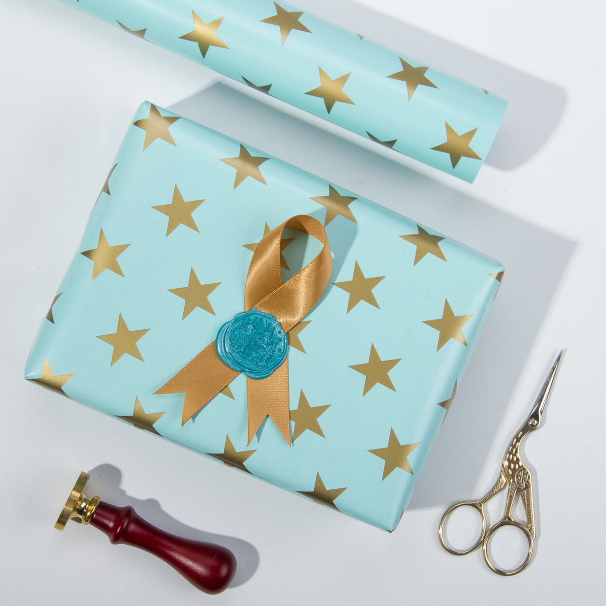 Wrapaholic-Mint-Color- with-Gold-Print Star-Design-Gift -Wrapping-Paper-Roll-5