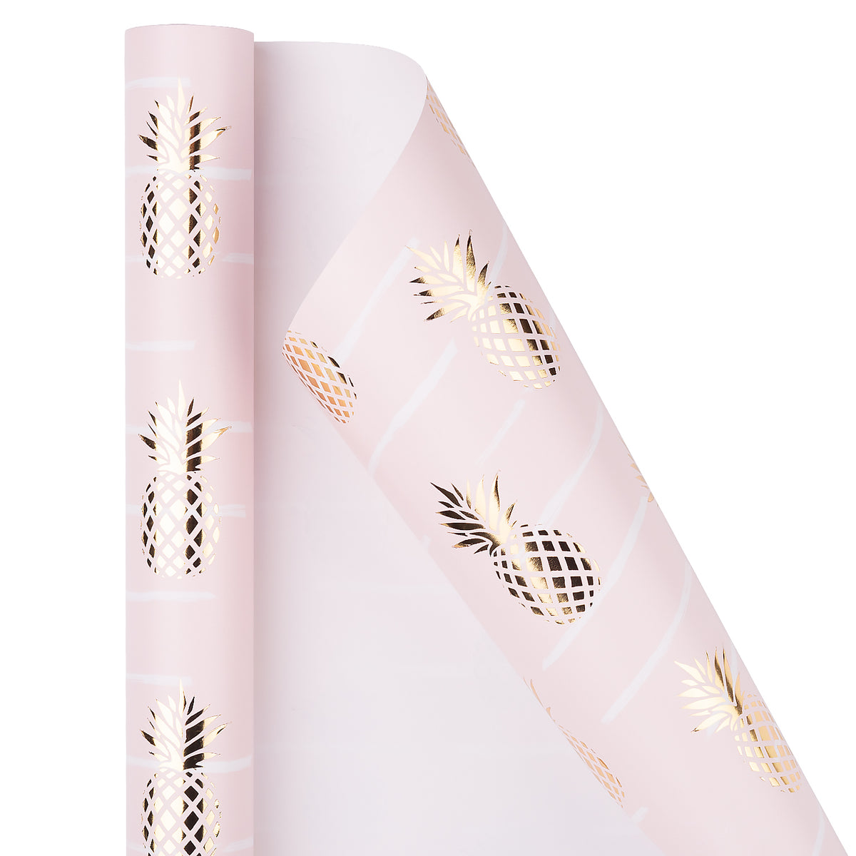 Wrapaholic-Pastel-Pink- Color-with-Foil-Pineapple- Design-Gift-Wrapping-Paper-Roll-2