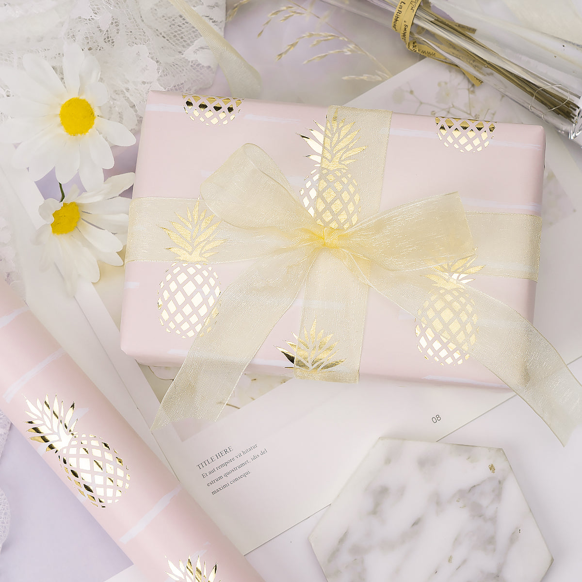 Wrapaholic-Pastel-Pink- Color-with-Foil-Pineapple- Design-Gift-Wrapping-Paper-Roll-4