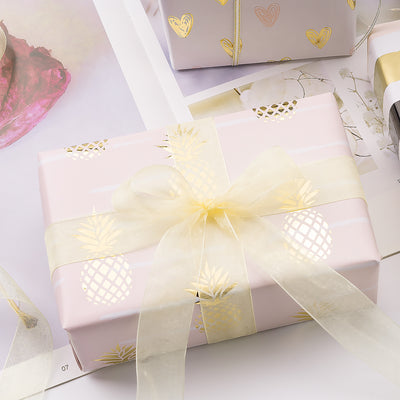 Wrapaholic-Pastel-Pink- Color-with-Foil-Pineapple- Design-Gift-Wrapping-Paper-Roll-3