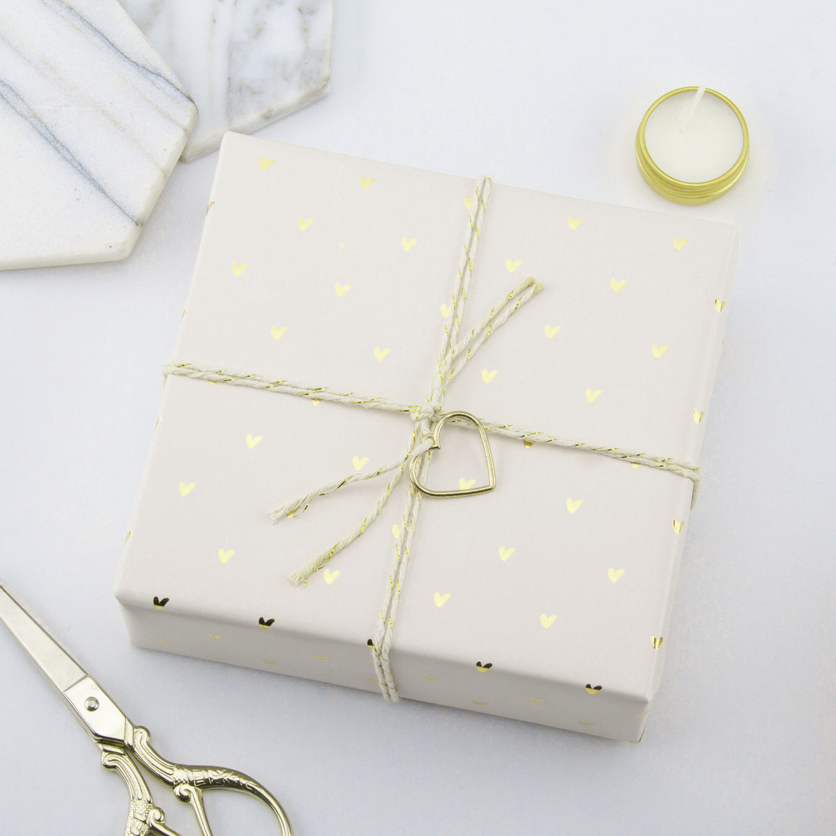 Wrapaholic-Pastel-Pink-Color-with-Gold-Foil-Sweet-Heart- Design-Gift-Wrapping-Paper-Roll-4
