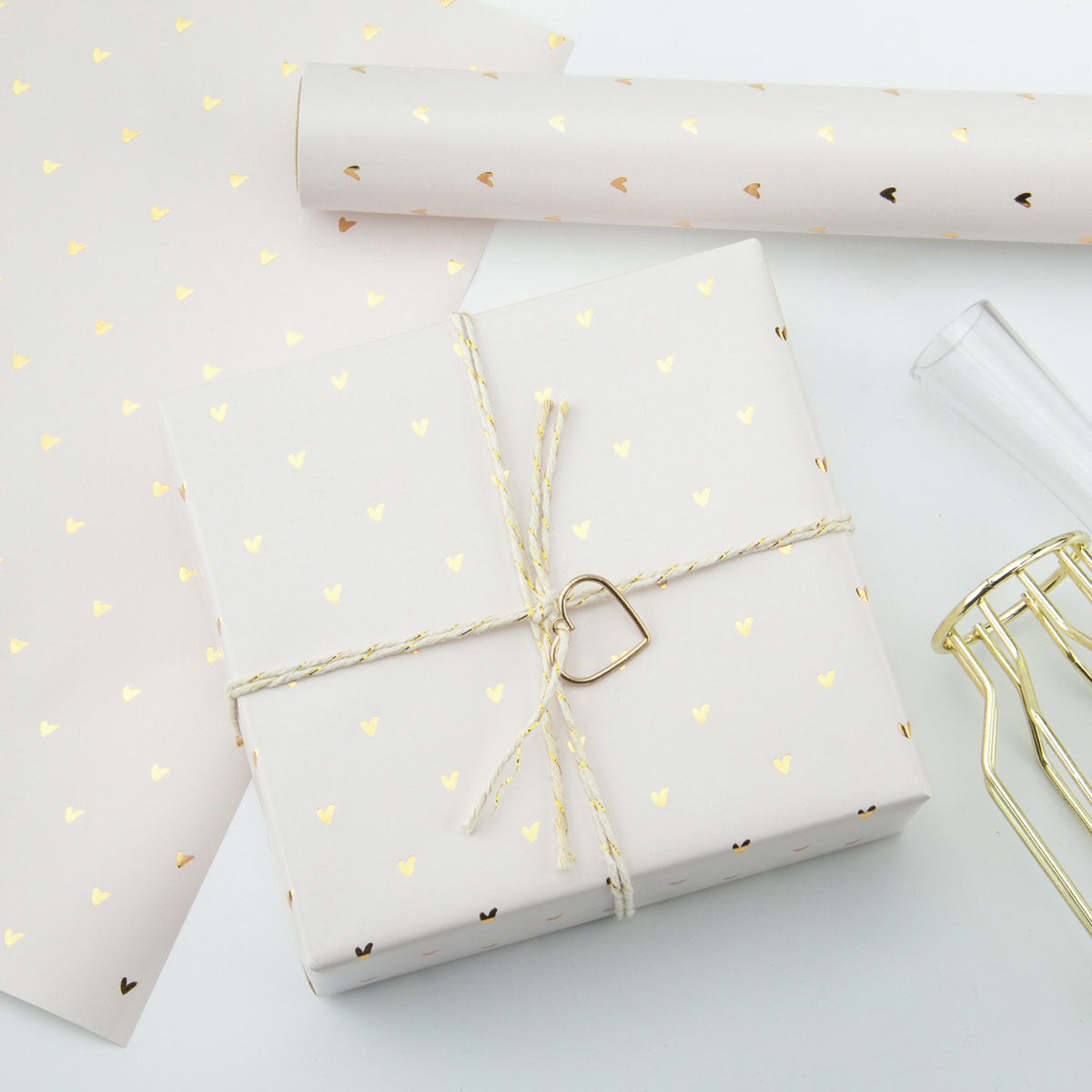Wrapaholic-Pastel-Pink-Color-with-Gold-Foil-Sweet-Heart- Design-Gift-Wrapping-Paper-Roll-5