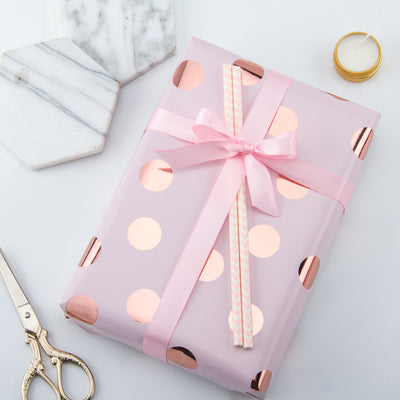 Wrapaholic-Pink-Color-with- Rose-Gold-Foil Polka-Dots- Design-Gift-Wrapping-Paper-Roll-5