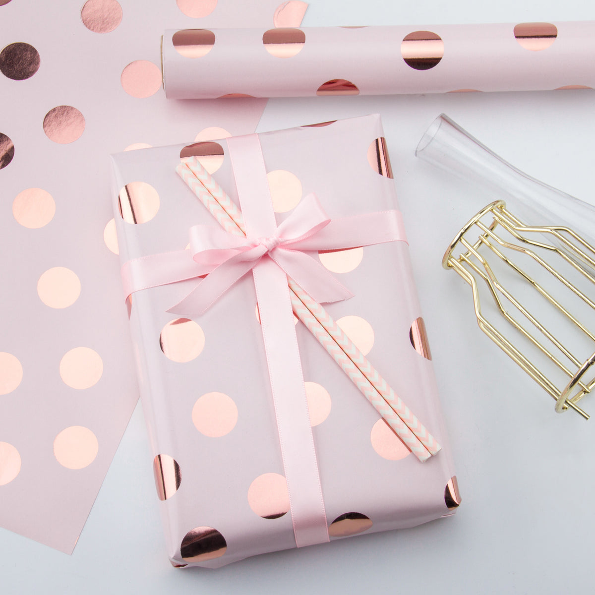 Wrapaholic-Pink-Color-with- Rose-Gold-Foil Polka-Dots- Design-Gift-Wrapping-Paper-Roll-4
