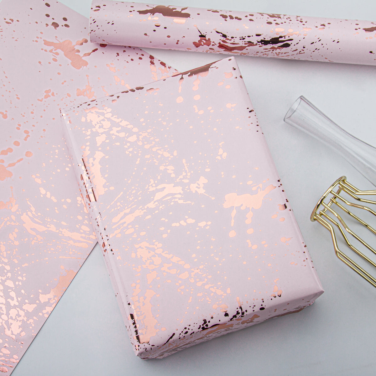 Wrapaholic- Pink-Color-with Gold-Foil-Splash-Ink- Design-Gift Wrapping-Paper -Roll-5