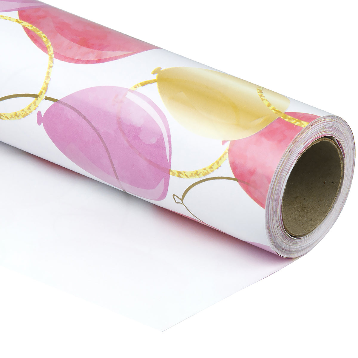 Wrapaholic-Pink-Purple-Gold-Print-Celebrating-Balloon-Design Gift-Wrapping-Paper-Roll-1