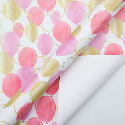 Wrapaholic-Pink-Purple-Gold-Print-Celebrating-Balloon-Design Gift-Wrapping-Paper-Roll-2