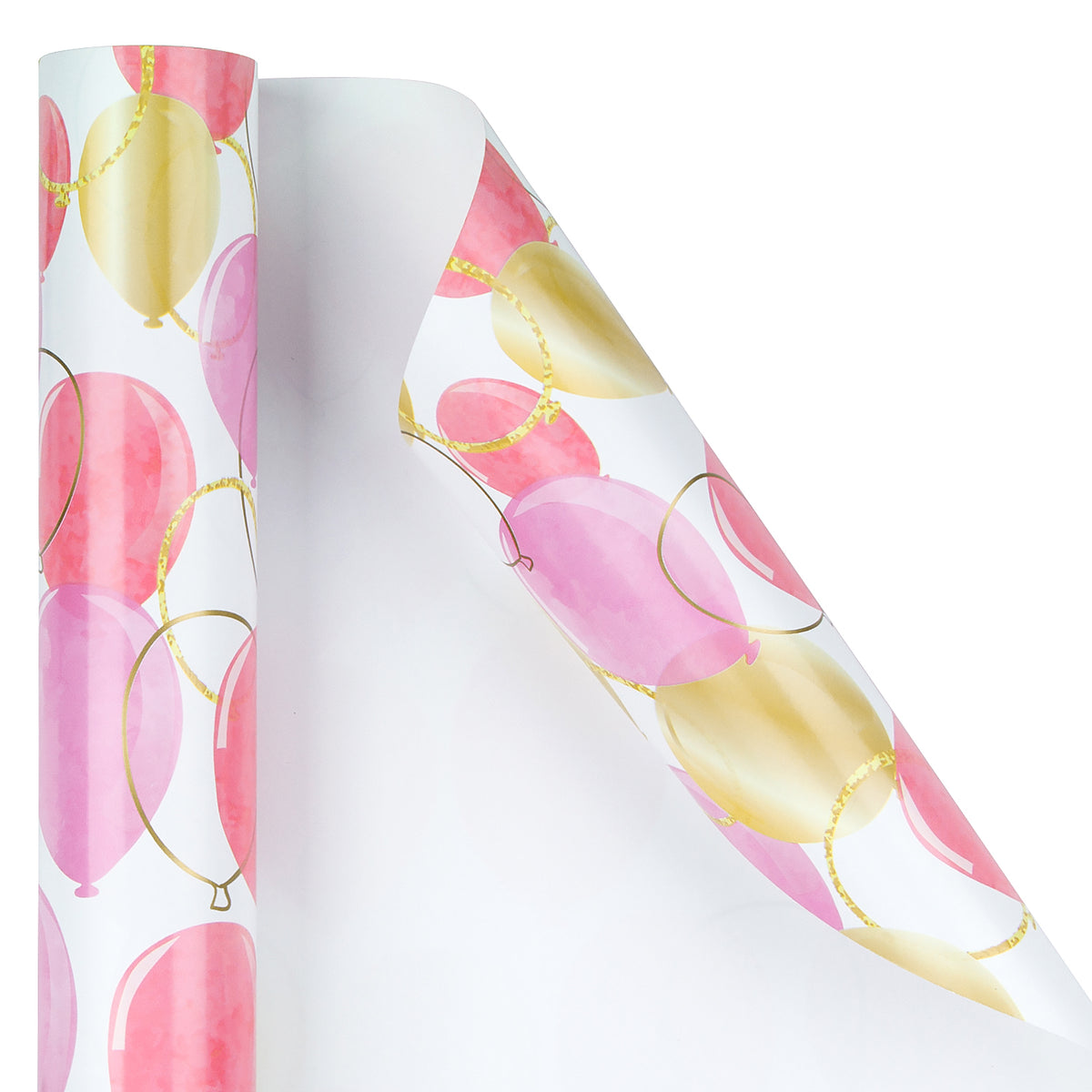 Wrapaholic-Pink-Purple-Gold-Print-Celebrating-Balloon-Design Gift-Wrapping-Paper-Roll-3
