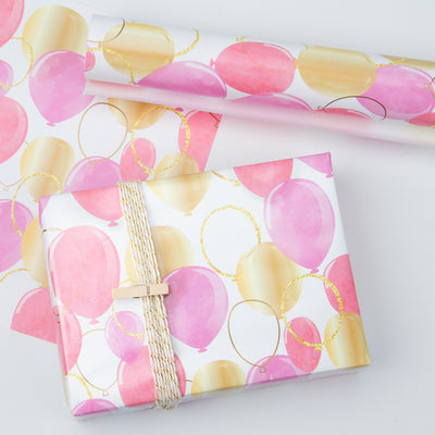 Wrapaholic-Pink-Purple-Gold-Print-Celebrating-Balloon-Design Gift-Wrapping-Paper-Roll-4