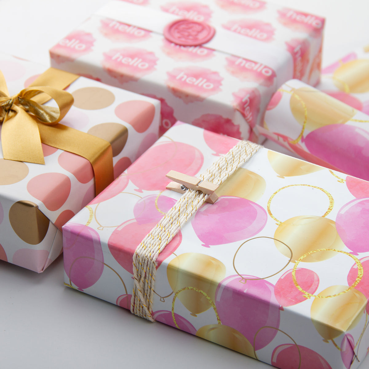 Wrapaholic-Pink-Purple-Gold-Print-Celebrating-Balloon-Design Gift-Wrapping-Paper-Roll-5