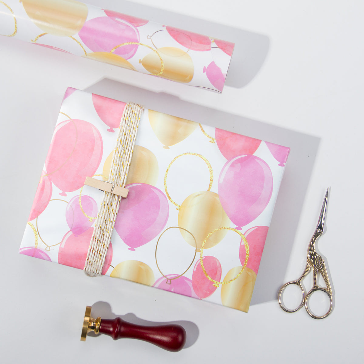 Wrapaholic-Pink-Purple-Gold-Print-Celebrating-Balloon-Design Gift-Wrapping-Paper-Roll-6