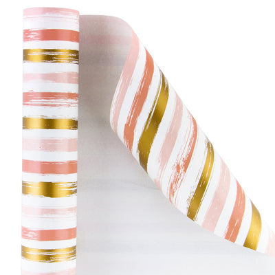 Wrapaholic-Pink-and-Gold Lines-Print-Gift-Wrapping-Paper-Roll-2