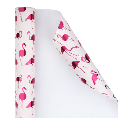 Wrapaholic-Pink-with- Fuschia-Foil-Flamingo-Gift- Wrapping- Paper-Roll-2