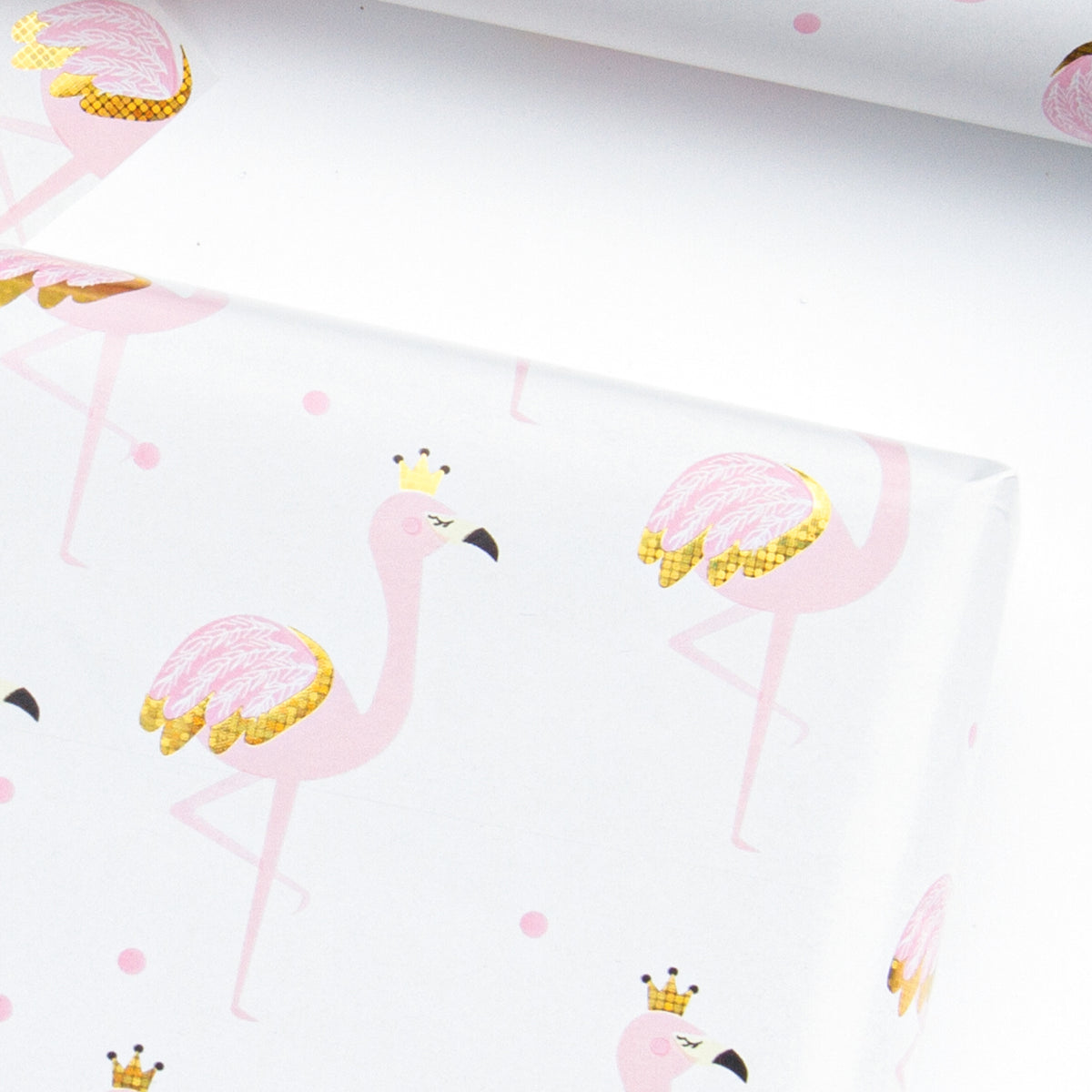 Wrapaholic-Pink-with-Gold Foil-Flamingo- Design-Gift-Wrapping-Paper-Roll-5