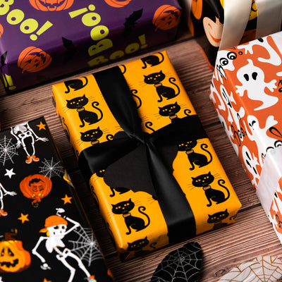 Wrapaholic-Pumpkin-and-Black-Cat-Design-Gift Wrapping-Paper-Sheet-5