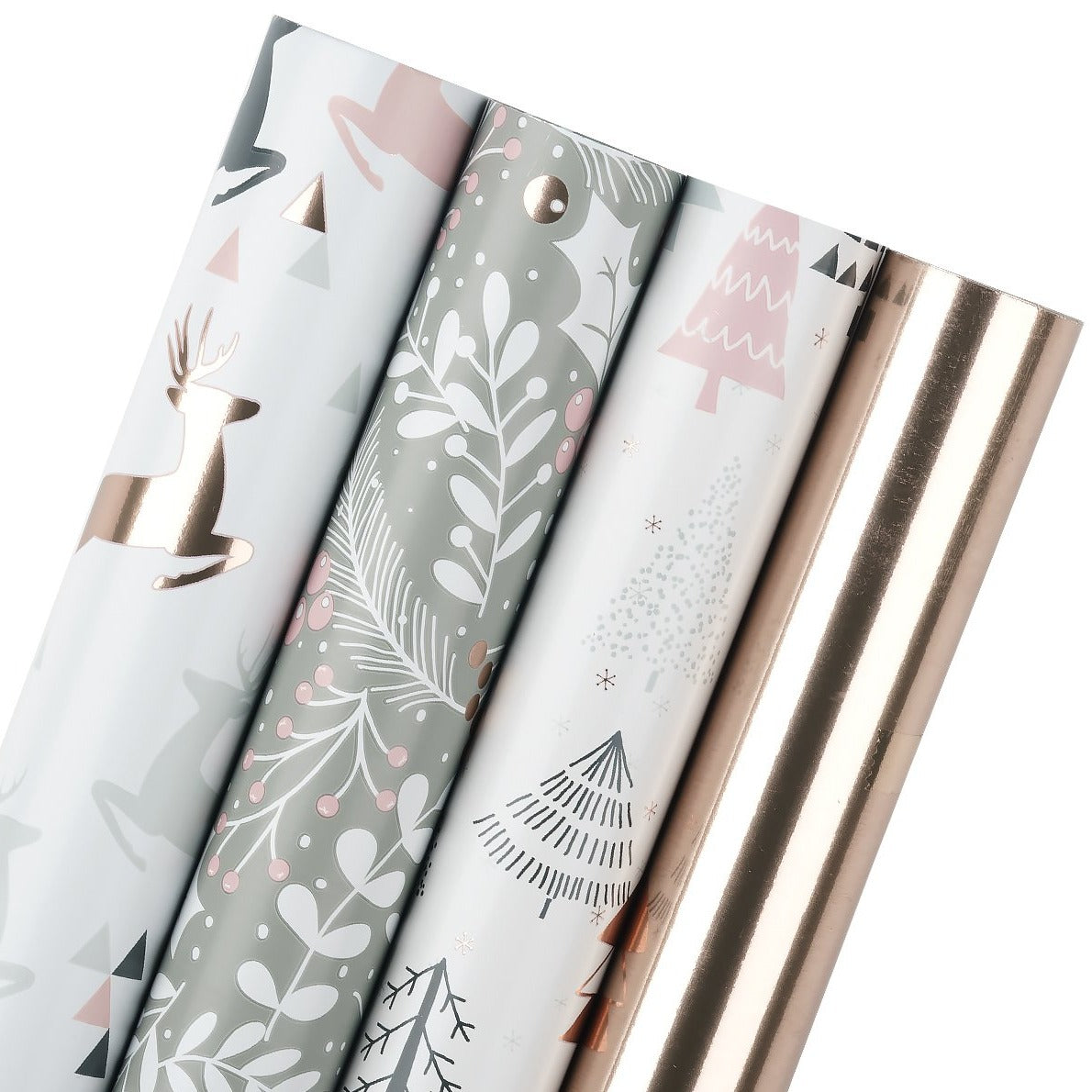 Wrapaholic-Rose-Gold-and- Grey-Holiday-Design-with-Metallic-Foil-Shine-Christmas-Gift-Wrapping-Paper-Roll-4 Rolls-1